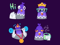 Pigeon stickers face positive reward badge character reaction bird crown king sport coffee morning emotion emoji stickers sticker pigeon