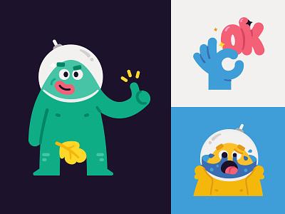 Cosmo blob man stickers avatar illustration award character smile emoji face austronaut cosmos man blob logo badges badge achievement reward stickers sticker