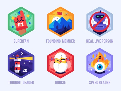 Nomadic badges eye flame chicken flag mountain android throphy achievement award fan superfan founder member robot person reader leader rookie badge badges
