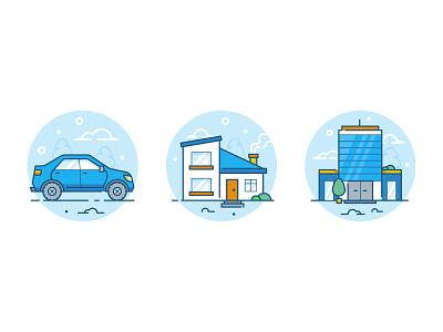Locksmith icons details illustration design illustrator building business office property home automobile car auto icon design icons icon