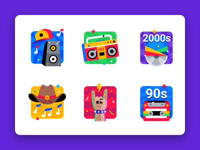 Music categories boombox speakers alternative rock and roll country hiphop music design badge award icon illustration icons