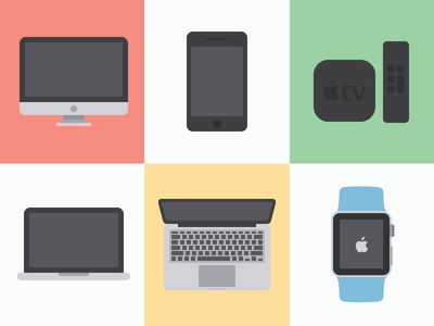 iconize flat: apple freebies atv mobile laptop ipad iphone tv watch aw macbook apple. imac icons