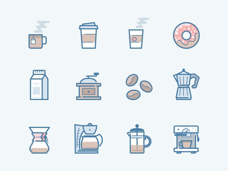 webina flat: Coffee mug donut cup beans coffee machine french press filtration milk tea cafe coffee icons