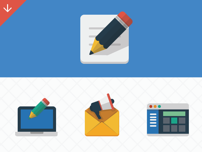 ikooni flat: some seo icons speaker email browser app application marketing custom design blogging promotion pencil flat icons