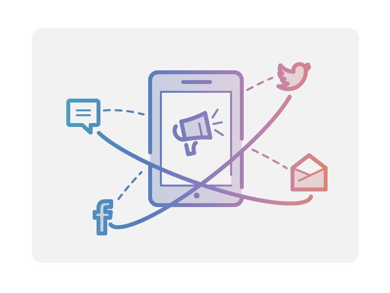 Community Promotion social email marketing promo sharing share message speaker megaphone promotion community