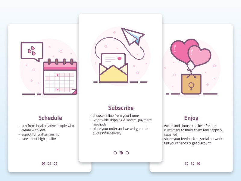 "Onboarding ""How it works"" Women's product women periods balloons package product mail email calendar enjoy schedule how it works subscribe"