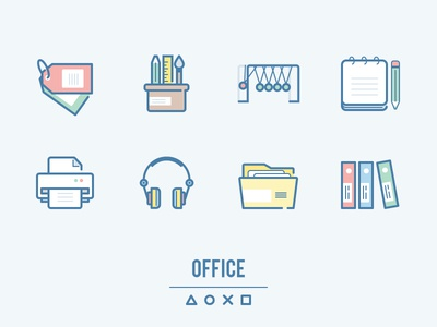 webina: Office Table pencil note printer tags folder headphones newton craddle supplies office outline flat icons