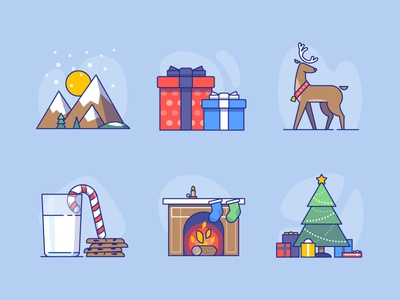 Xmas icons for Advent Calendar - coming soon!! reindeer socks presents gift tree fire place winter moutain milk deer christmas xmas