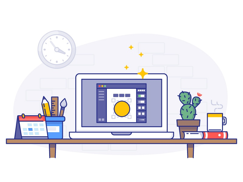 Welcome to Vectr! work time coffee cactus calendar book vectr vector space working desktop laptop