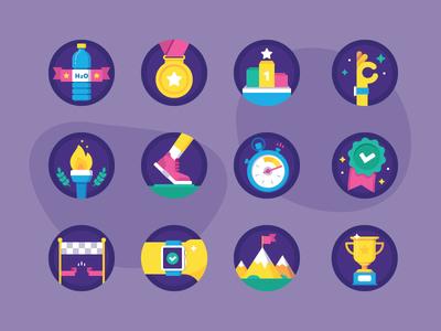 Freebies: Sport Badges water trophy apple watch running stopwatch badge award medal achievement icons free freebies