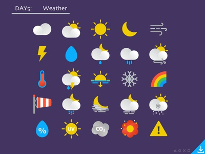 Day5_freebies: Weather icons night sun snow fog wind uv pollen cloud icon flat icons weather