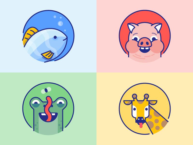 Wonde: Animals for kids icons colors kids login creature fish lizard frog giraffe piggy pig animals