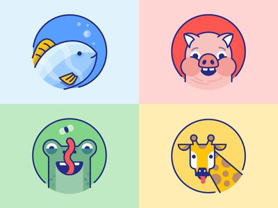 Wonde: Animals for kids icons colors kids login creature fish lizard frog giraffe piggy pig animals