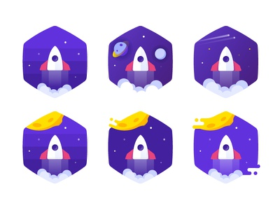 Defining some details for badges style launch start spaceship ship space planet sport badge challenge rocket