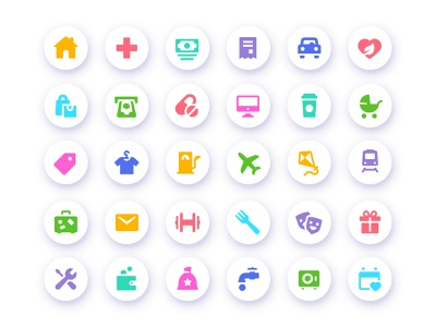 Freebies Expenses -vs- Income icons transport travel restaurant shopping car tax money healthcare home donation salary expenses finance app tracking icons glyph icon income expense