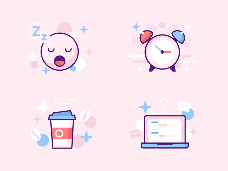 sleep ~ coffee ~ work ~ repeat illustrations icon process working day night wakeup email code drink development laptop smile face avatar alarm repeat work coffee sleep