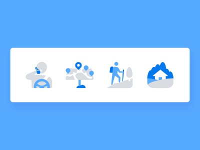 leto: Travel vector flat view point location map travelling hiking house car coffee travel trip icon icons