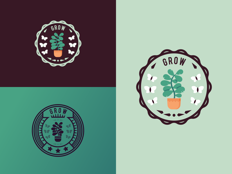 Grow_Create_Inspire (badge-seal collection) illustration flat icons growing badges butterfly flower plant acheiement award badge seal inspire inspiration creation create grow