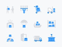 Leto: Delivery, Warehouse shopping online store shipping container shipping management shipment iconset flat stockhouse box parcel code scan shipping logistics delivery warehouse icons