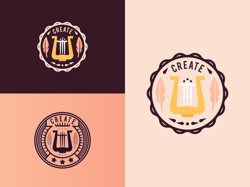 Grow_Create_Inspire (badge-seal collection) composing poetry logo design badges flat acheivement award illustration creation grow feather lire badge seal inspire inspiration create