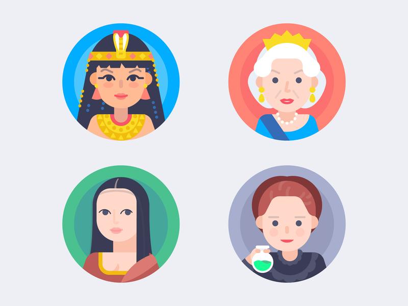 Famous Female avatars :) painting da vinci queen radiation egypt pharaoh mona lisa monalisa curie elizabeth cleopatra female woman famous