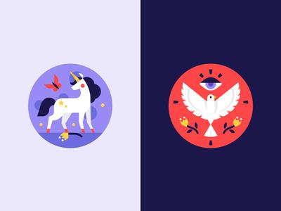 Animals avatar design illustration icons badge horse mystic god eye bird legend myth spiritual unicorn animal totem