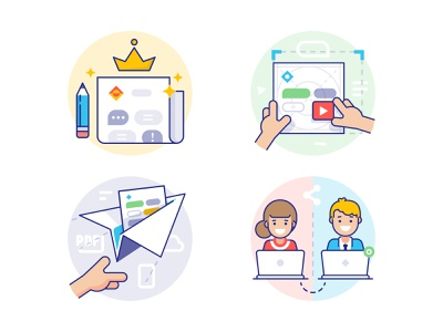 School.News: How it works design system feed template send collaboration outline icons icons features how it works news school