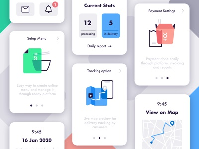 Platform for Small Food Businesses dashboard mobile tracking settings how it works how to icon map system logistics delivery food engine platform