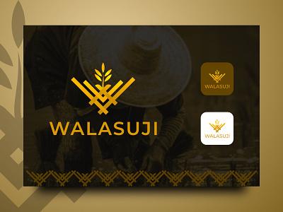 USAHA PADI BERAS WALASUJI farmer rice w mark w logo w monogram monograms monogramlogo memorable logos logo design logo design branding brand