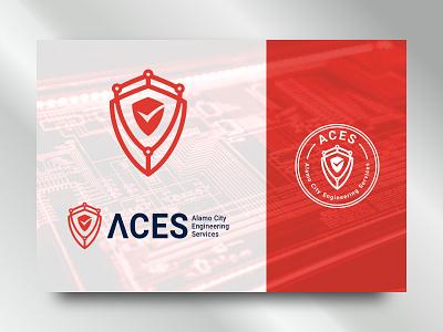 ACES logo branding minimal icon ilustration concept modern symbol design vector logo technology tech security safety safe