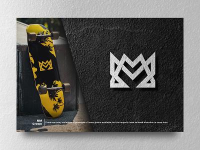 MM Crown design sporty sport merk apparel vector ui illustration branding brand masculine simple crown prince lord king monogram m