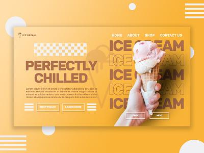ICECREAM minimal web design icecream yellow ui web typography graphic design logo ux design branding