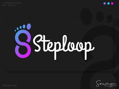 Steploop logos loop step logo design logodesign icon illustrator typography flat ui minimal logo graphic design branding design