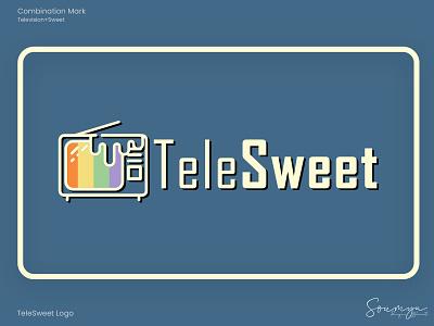 TeleSweet sweet television retro vector illustration flat minimal logo graphic design branding design