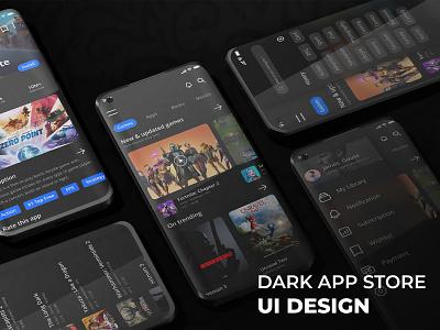 Dark App Store UI Design 3d app store dark ux ui flat graphic design design branding