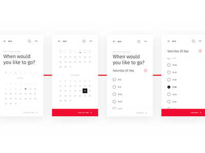 🎟 Date and time selection for the mobile Ticketstream minimalist calendar mobile responsive clean tickets red white minimal event time date