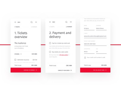 🎟 Checkout process for Ticketstream shopping payment white clean minimal responsive mobile cart checkout