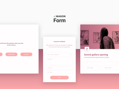 FORM - Front-end Feature Kit from Mason minimal rsvp ui kit popup modal vote poll feedback input form white