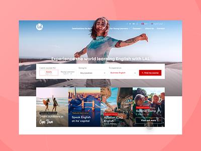 LAL Schools | Language Exchange School Homepage ui design ui web design webdesign cape town london school student travel language exchange search course english hero homepage