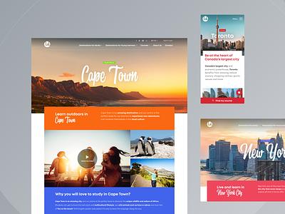 LAL Schools | Destination Pages ui design web design webdesign ui student toronto new york cape town colorful school language english travel city destination
