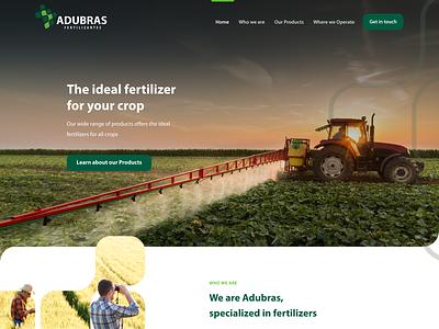 Fertilizer Distribuitor Homepage | Adubras interface ui ui design rural web design web farmer farm green chemical chemistry tractor leaf crop fertilizer agriculture