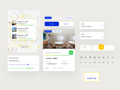 Real Estate Platform Components | Apolar Procura ui design apartment realty real estate property map mobile elements components ui kit card toggle chip menu icon select cluster product design