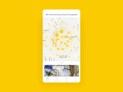Search Results Microinteractions | Apolar Procura ui design ux design animation after effects figma microinteraction interaction cluster favorite card list map results search mobile product design realty real estate property