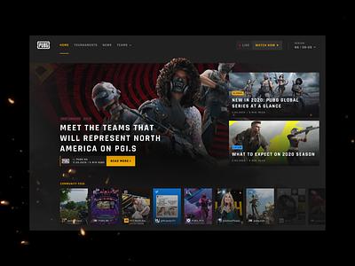 PUBG Esports Official Portal | Home Hero stories hero portal dark figma web design website interface game gaming esports pubg ui design