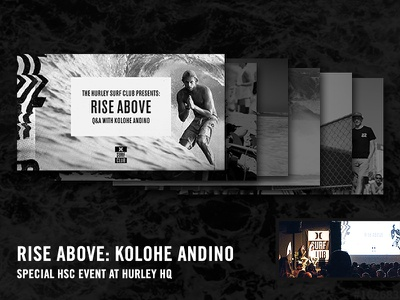 Deck for Kolohe Andino @ Hurley Surf Club headquarters event special guest speaker presentation deck surfer kolohe andino surf hurley