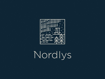 Nordlys logolounge branding icon trees stars wisconsin hospitality northern lights water abstract illustration logo identity design