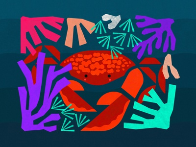 Water sign love: Cancer Crab in the Reef planet water sea water sign sun sign cancer crab ocean coral reef nature abstract illustration design