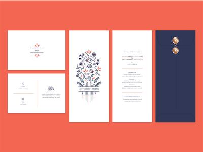 Wedding stationery invitations linear color foliage flourish floral wedding