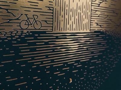 Sneak Peek foilstamp gold drawn abstract stars moon reflection nature waterfall bicycle sneakpeek bike