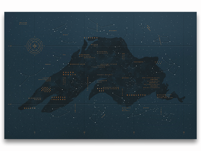 New Studio MPLS Poster: The Lake & Stars water painted lake superior compass map constellations blind deboss foil stamp poster design stars lake